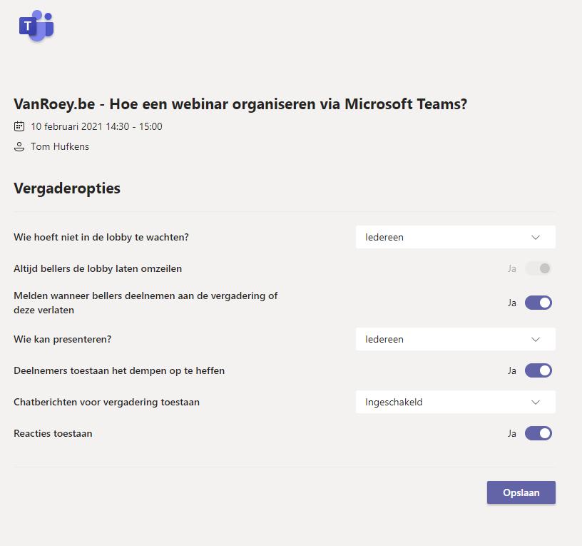 Microsoft Teams - Options de réunion