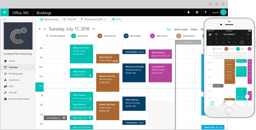 Exemple de dahsboard Microsoft Bookings | VanRoey.be