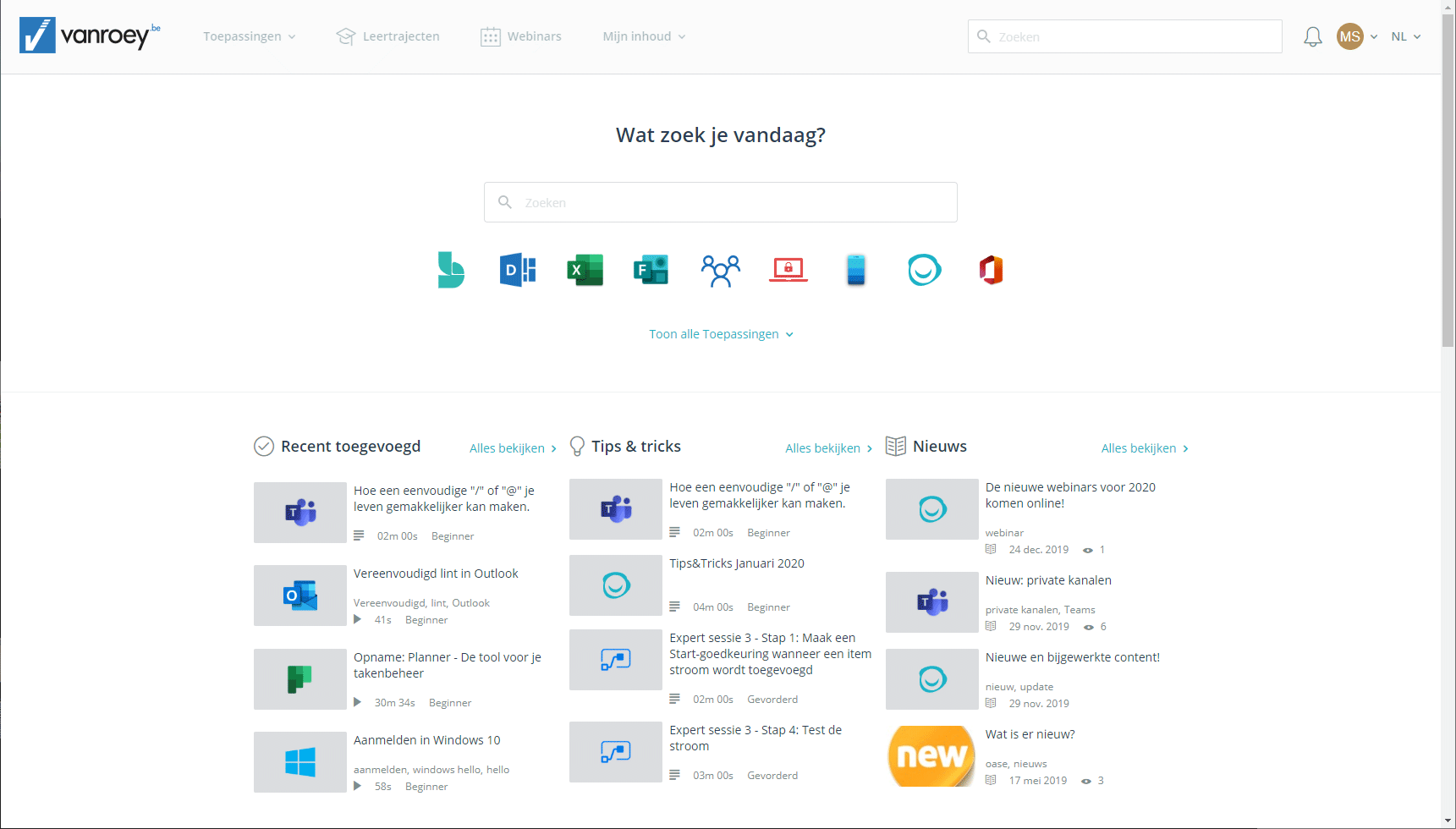 Screenshot-e-learning platform-homescreen