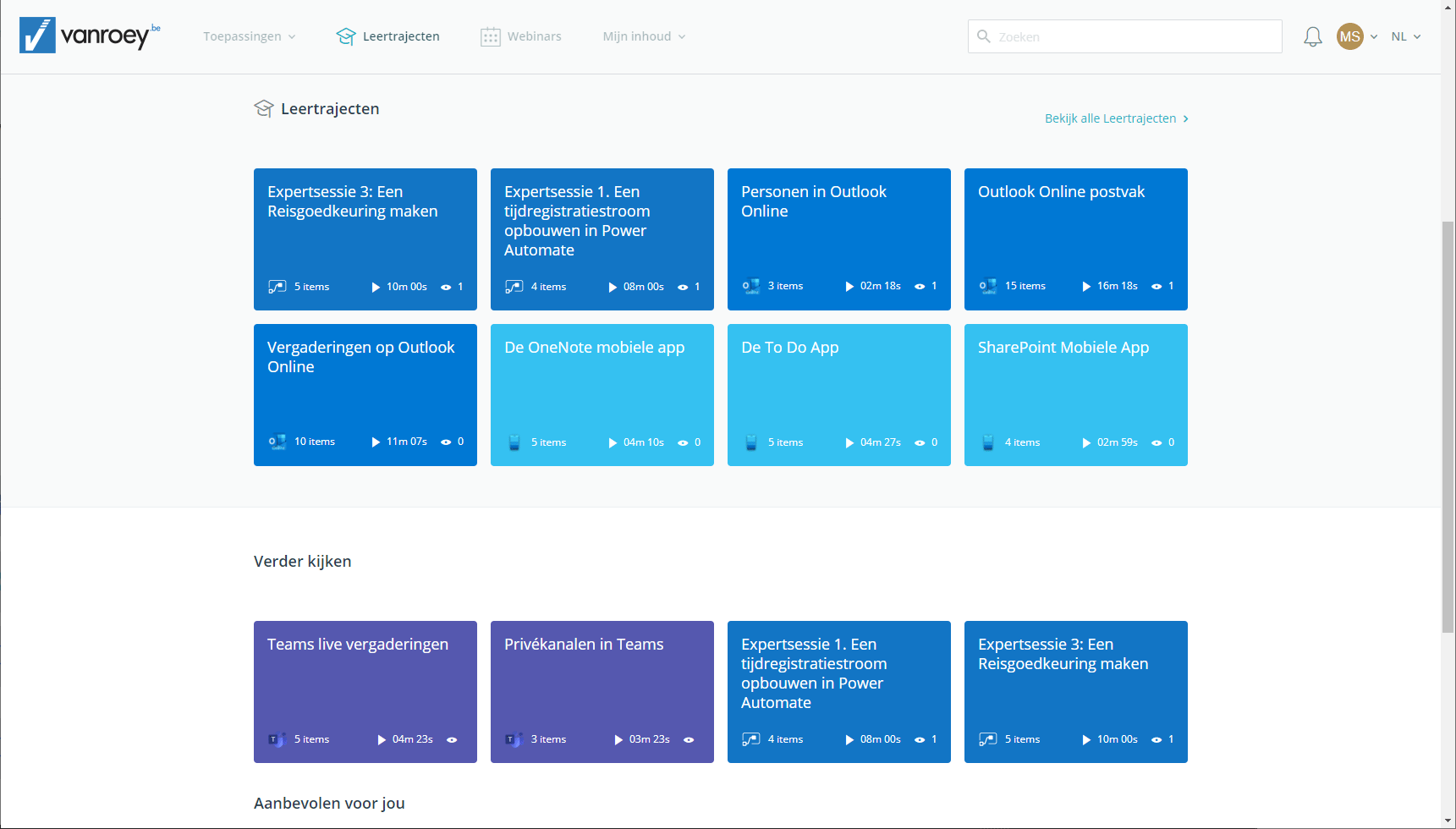 Screenshot learning platform learning paths