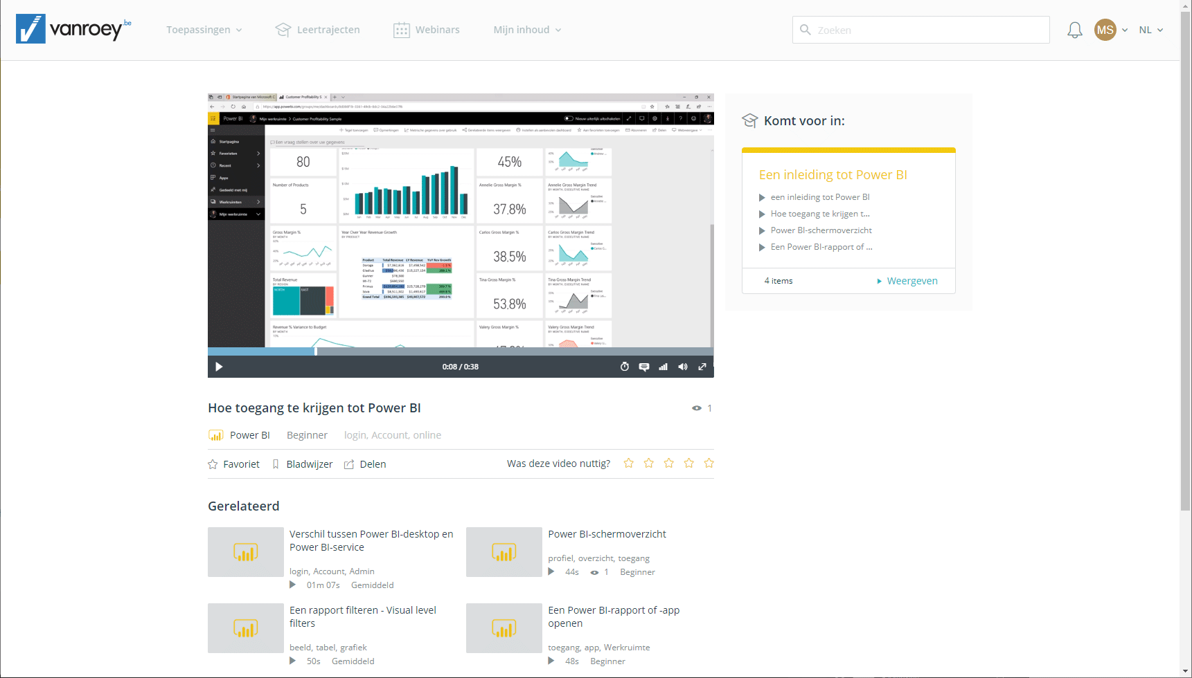 Screenshot-e-learning platform-power-bi