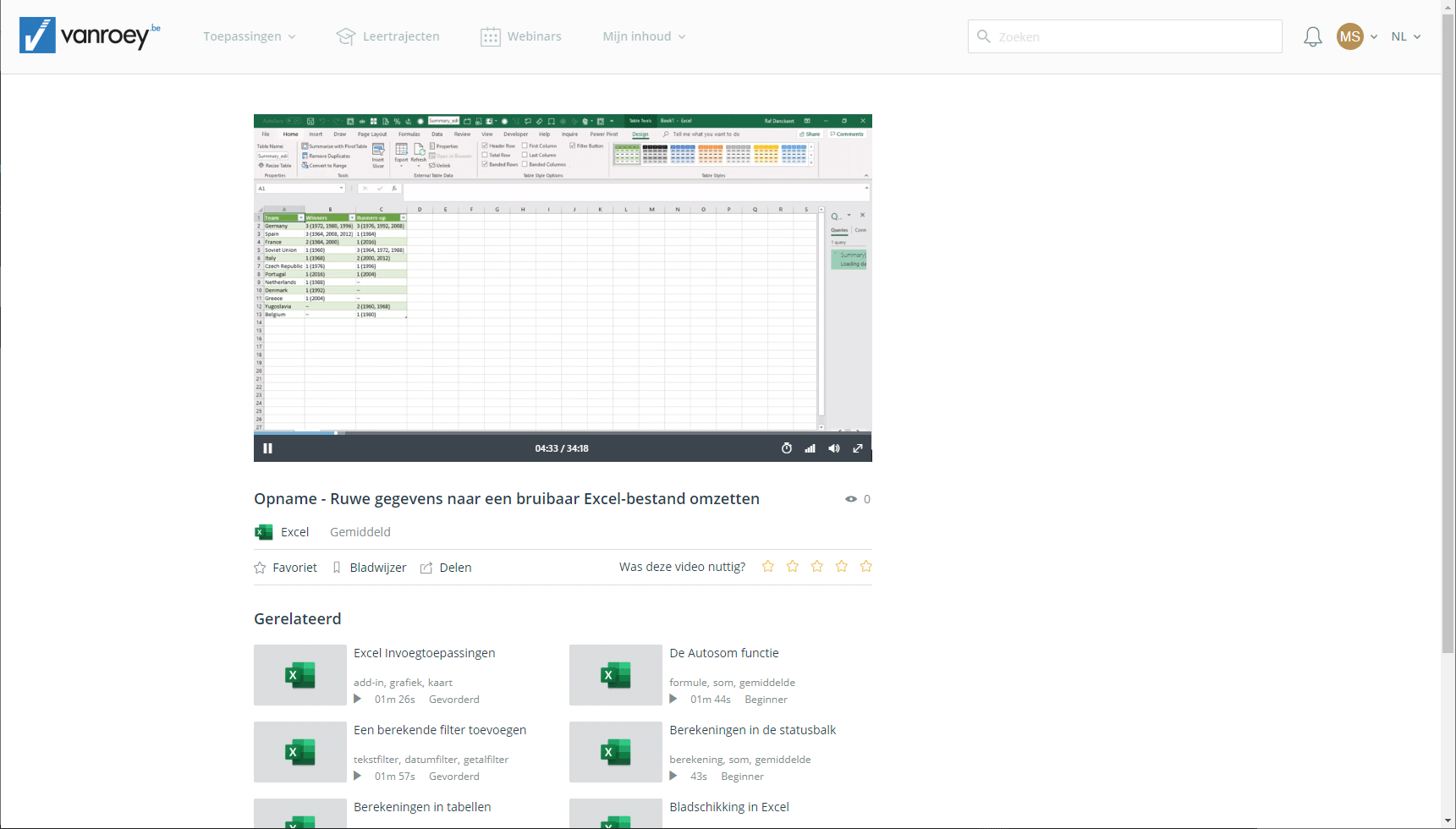 Screenshot-e-learning platform-security-excel