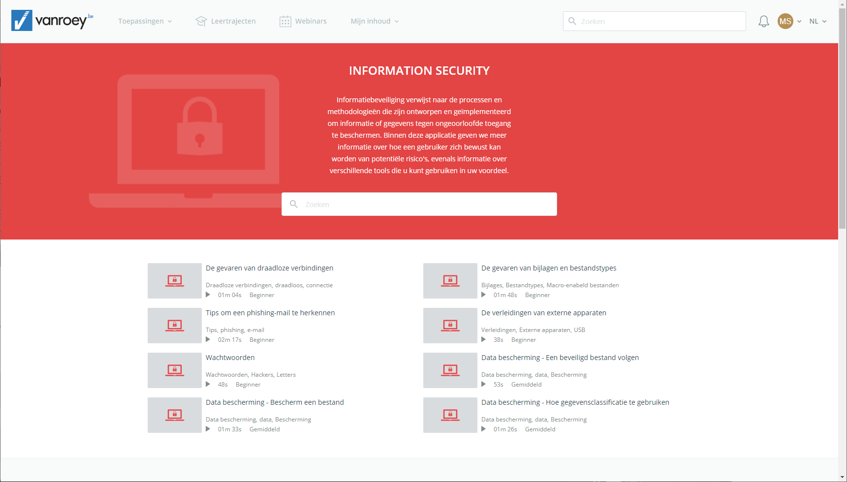 Screenshot-e-learning platform-security