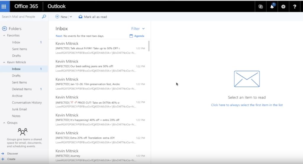 Capture d'écran d'une boîte aux lettres Outlook piratée