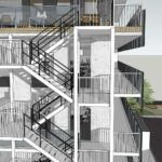 VanRoey.be Nouveau bâtiment 3D Design vue latérale escalier | VanRoey.be